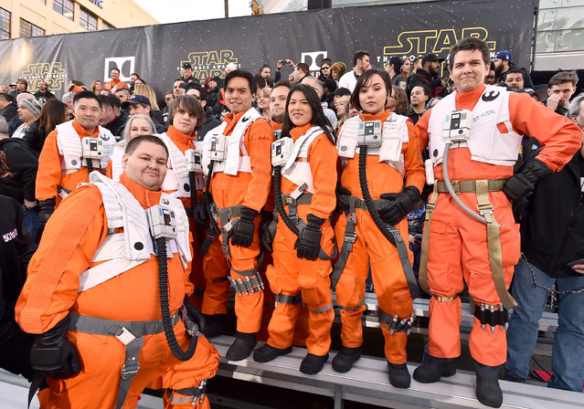 "Fans dressed in character wait in the stands at the world premiere of ""Star Wars: The Force Awakens"" at the TCL Chinese Theatre on Monday, December 14, 2015, in Los Angeles. (Photo by Jordan Strauss/Invision/AP Photo)"