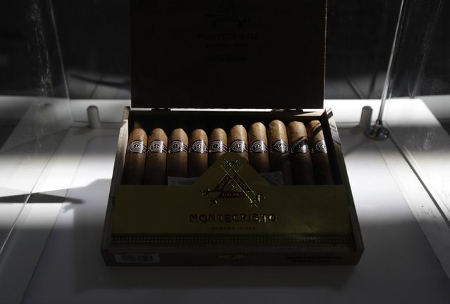 A Montecristo Cuban cigar box is displayed during the XVII Habanos Festival in Havana  February 23, 2015. Cuban cigar-maker Habanos S.A. envisions gaining 25 percent to 30 percent of the U.S. premium cigar market if the United States lifts its trade embargo on Cuba, potentially selling 70 million to 90 million cigars per year, the company said on Monday. (Photo by Enrique De La Osa/Reuters)