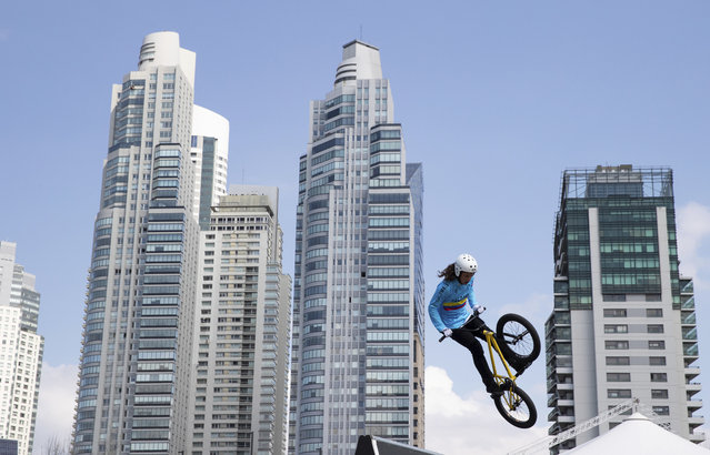 In this Monday, October 8, 2018 photo, Colombia's BMX freestyle athlete Sebastian Martinez practices at the Urban Park, at the Youth Olympic Games in Buenos Aires, Argentina. (Photo by Ian Walton/OIS/IOC via AP Photo)