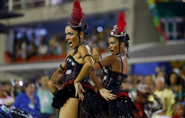 Revellers of the Salgueiro samba school perform during the carnival parade at the Sambadrome in Rio de Janeiro February 8, 2016. (Photo by Pilar Olivares/Reuters)