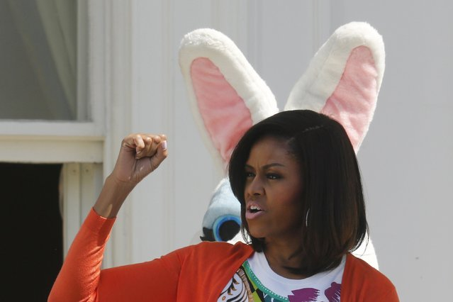 U.S. first lady Michelle Obama and the Easter Bunny kick off the annual Easter Egg Roll at the White House in Washington April 6, 2015. (Photo by Jonathan Ernst/Reuters)