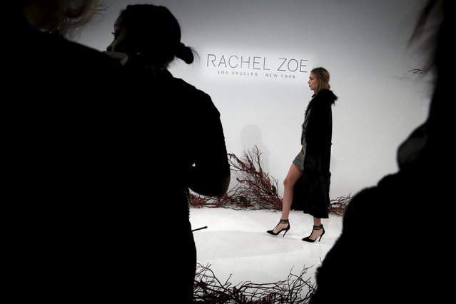 A model presents a creation from the Rachel Zoe Fall/Winter 2016 collection at New York Fashion Week, February 14, 2016. (Photo by Andrew Kelly/Reuters)