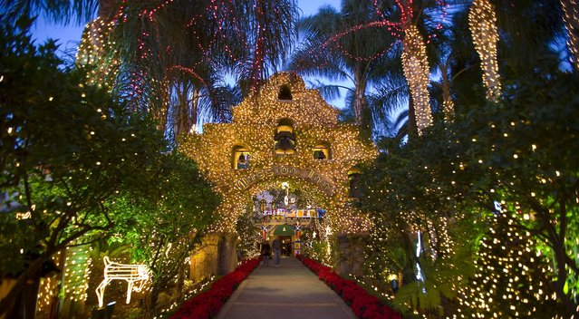 The entrance archway of the Mission Inn Hotel, an historic landmark in Riverside, California, is decorated for Christmas. Nearly 4 million lights illuminate the property through January 5. (Photo by The AAA Four Diamond Historic Mission Inn Hotel & Spa)