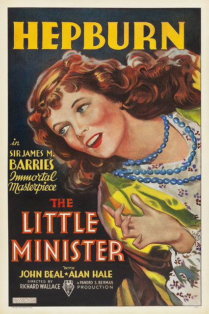 """The Little Minister (RKO, 1934). One Sheet (27"""" X 41""""). Based on a novel by Sir James M. Barrie (Peter Pan), the story of a mysterious and headstrong gypsy girl is played by Katharine Hepburn in one of her very early screen roles. Estimate: $5,000 - $10,000. (Photo by Courtesy Heritage Auctions)"""
