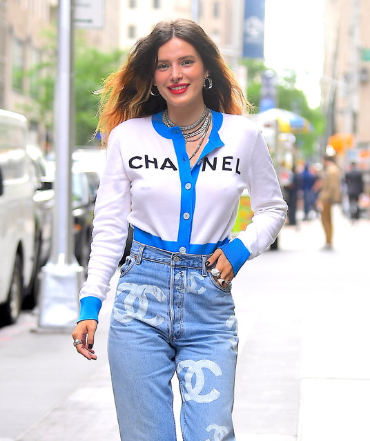 Bella Thorne looks cute in Chanel Ensemble as she Visits Sirius XM Radio in NYC on June 14, 2019. (Photo by DIGGZY/Splash News and Pictures)