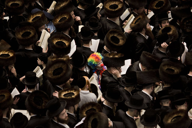 An Ultra Orthodox Jewish child dressed as a clown (C) stands among men reading from the Book of Esther during a prayer for the Jewish Holiday of Purim in the Mea Shaarim neighborhood in Jerusalem, Israel, 12 March 2017.The joyful Jewish holiday of Purim celebrates the Jews' salvation from genocide in ancient Persia, as recounted in the Scroll of Esther. (Photo by Abir Sultan/EPA)