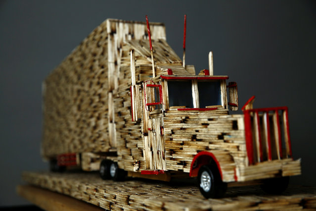 A replica of the truck made from matchsticks by Janusz Urbanski is pictured at his flat in Ruda Slaska, Poland May 4, 2016. (Photo by Kacper Pempel/Reuters)