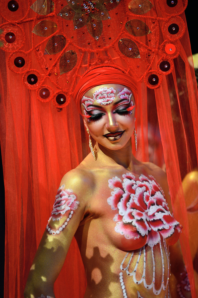 """Body Painting"" Contest of the OMC Hairworld World Cup 2014 in Frankfurt am Main"