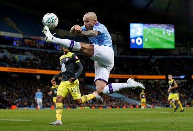Manchester City's Angelino in action against Southampton during their Carabao Cup fourth round match in Manchester, England, Tuesday, October 29, 2019. (Photo by Andrew Yates/Reuters)
