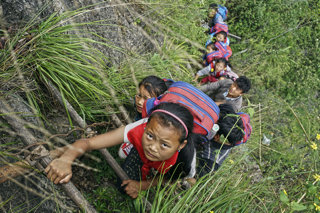 In this May 14, 2016 photo, children wearing their school backpacks climb on a cliff using a bamboo ladder on their way home from school in Zhaojue county, southwest China's Sichuan province. A village in China's mountainous west where schoolchildren must climb an 800-meter (2,625-foot)-high bamboo ladder secured to a sheer cliff face may get a set of steel stairs to improve it's safety. (Photo by Chinatopix via AP Photo)