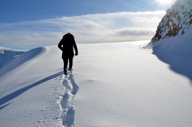 A man walks along a road covered in snow in Mus province of Turkey on December 03, 2019. (Photo by Sabri Yildirim/Anadolu Agency via Getty Images)