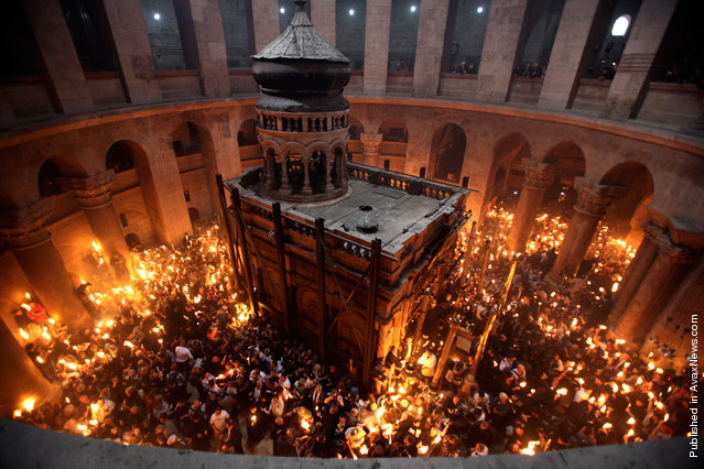 The Church of the Holy Sepulcher during the Christian Orthodox Holy Fire ceremony in Jerusalem's Old City