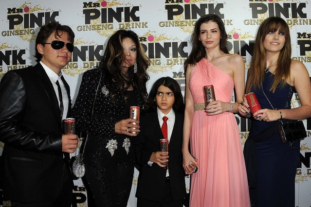 (L-R) Prince Michael Jackson, LaToya Jackson, Blanket Jackson, Monica Gabor and Paris Jackson attend Mr. Pink Ginseng Drink Launch Party on October 11, 2012 in Beverly Hills, California. (Photo by Valerie Macon/Getty Images)