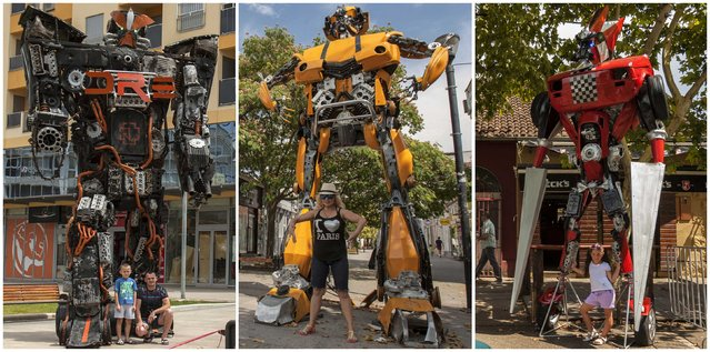 "A combination photograph of Transformer-inspired sculptures (L-R) ""Rammtron"", ""Bobo"" and  ""Muscle"", constructed from scrap metal in Podgorica. Danilo Baletic, 22, makes sculptures of his childhood cartoon heroes ""Transformers"" from scrap metal. (Photo by Stevo Vasiljevic/Reuters)"
