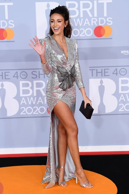 Michelle Keegan poses as she arrives for the Brit Awards at the O2 Arena in London, Britain, February 18, 2020. (Photo by David Fisher/Rex Features/Shutterstock)