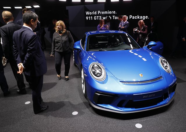 A Porsche 911 GT3 is pictured during opening of the Frankfurt Motor Show (IAA) in Frankfurt, Germany September 11, 2017. (Photo by Kai Pfaffenbach/Reuters)