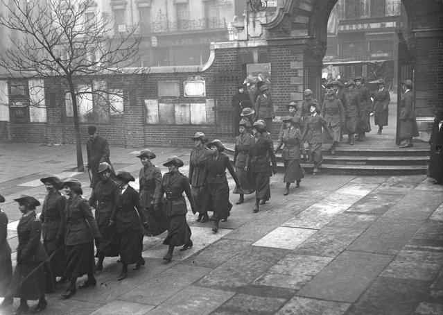 A parade of women ambulance drivers during World War I, November 1915. (Photo by Topical Press Agency)