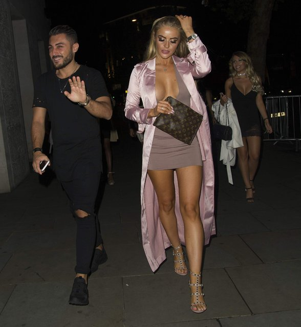 "UK ""Ex on the Beach"" star Megan Clarke leaving STK in London, England on September 11, 2016. (Photo by Exclusivepix Media)"