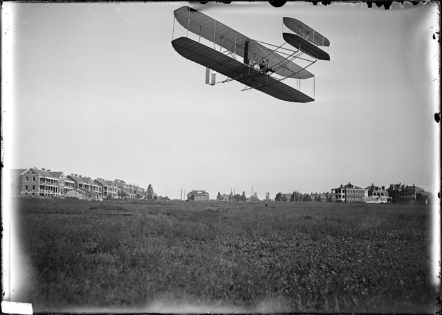 """Wright Aeroplane, Ft. Myer, VA. Orville Wright in plane, September 1908"". (Photo by an unknown photographer)"