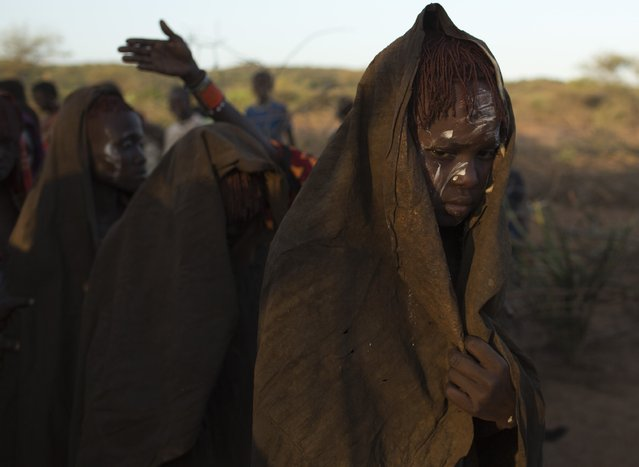 A Pokot girl, covered in animal skins, walks to a place where she can rest after being circumcised in a tribal ritual in a village about 80 kilometres from the town of Marigat in Baringo County, October 16, 2014. (Photo by Siegfried Modola/Reuters)