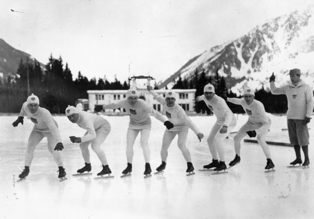 A group of American skaters practising for the 1924 Winter Olympics at Chamonix, January 1924. (Photo by Topical Press Agency/Getty Images)