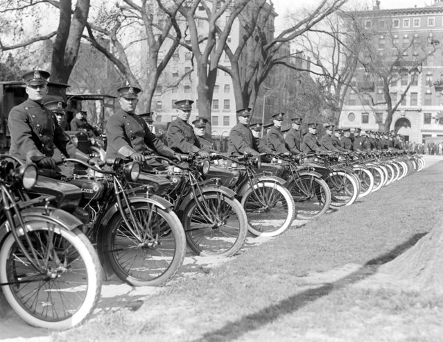Motorcycle cops, Boston Common, 1930 – 1939 (approximate). (Photo by Leslie Jones)