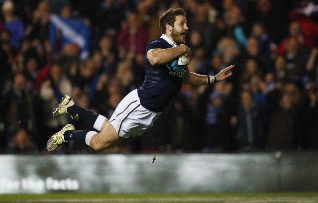 Scotland's Tommy Seymour scores a try against Argentina during their Autumn International rugby union match at the Murrayfield Stadium in Edinburgh, Scotland in this November 8, 2014 file photo. (Photo by Russell Cheyne/Reuters)