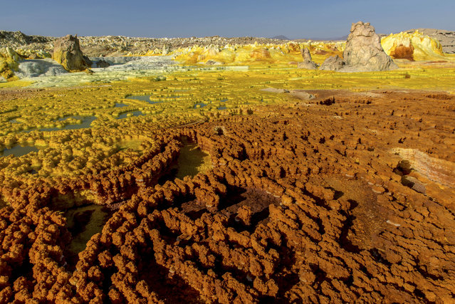 The photos were taken by Neta Dekel, an Israeli photographer. He said the acid pools were one of the most extraordinary sights he had ever seen. (Photo by Neta Dekel/Caters News Agency)