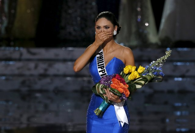 Miss Philippines Pia Alonzo Wurtzbach reacts as she is called back to the stage to be crowned Miss Universe during the 2015 Miss Universe Pageant in Las Vegas, Nevada December 20, 2015. Miss Colombia was crowned as the winner but host Steve Harvey said he made a mistake when reading the card. (Photo by Steve Marcus/Reuters)