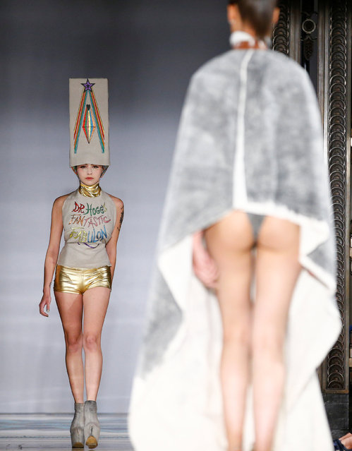 Models present creations at the Pam Hogg catwalk show at Freemasons Hall during London Fashion Week Women's in London, Britain September 14, 2018. (Photo by Henry Nicholls/Reuters)