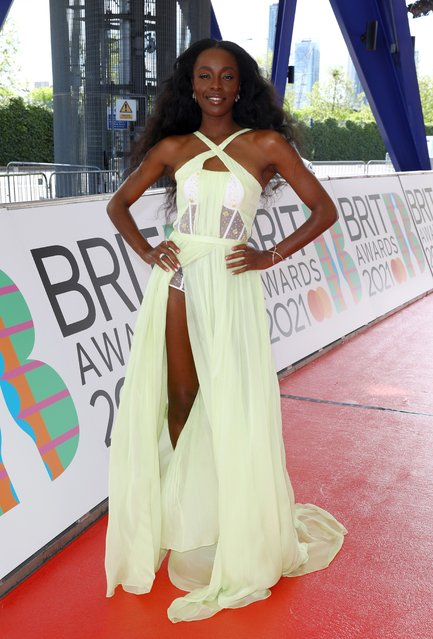British television presenter AJ Odudu arrives at The BRIT Awards 2021 at The O2 Arena on May 11, 2021 in London, England. (Photo by JMEnternational/JMEnternational for BRIT Awards/Getty Images)