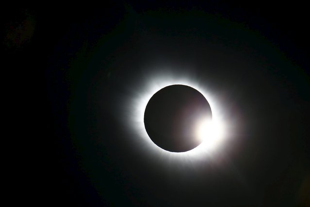 A total solar eclipse occurs over Svalbard March 20, 2015. (Photo by Haakon Mosvold Larsen/Reuters/NTB Scanpix)