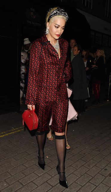 Rita Ora seen attending Miuccia Prada – party at The Scotch on December 10, 2018 in London, England. (Photo by Splash News and Pictures)