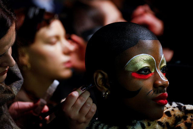 Models prepare backstage of the Charles Jeffrey LOVERBOY catwalk show at London Fashion Week Men's in London, Britain January 5, 2019. (Photo by Henry Nicholls/Reuters)