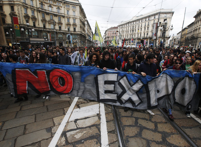 Demonstrators attend a protest against Expo 2015 in Milan, Italy, Thursday, April 30, 2015. (Photo by Luca Bruno/AP Photo)