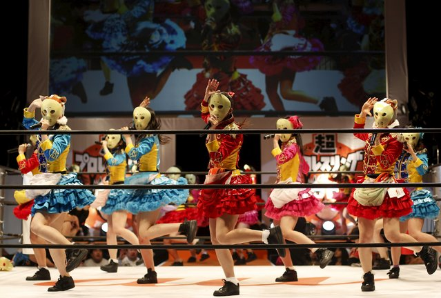 Members of Japanese all-girl pop idol group Kamen Joshi perform in a wrestling ring during Niconico Chokaigi 2015 in Makuhari, east of Tokyo, Japan April 26, 2015. (Photo by Yuya Shino/Reuters)