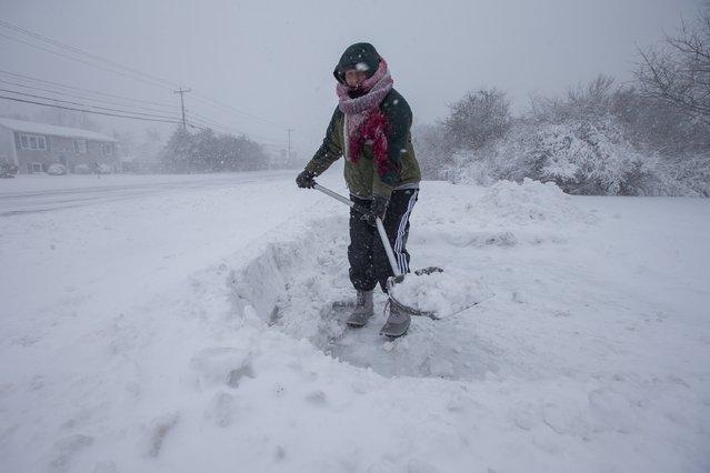 A woman shovels her driveway in Narragansett, Rhode Island, USA, 09 February 2017 as a major snowstorm hit the region. (Photo by Lisa Hornak/EPA)