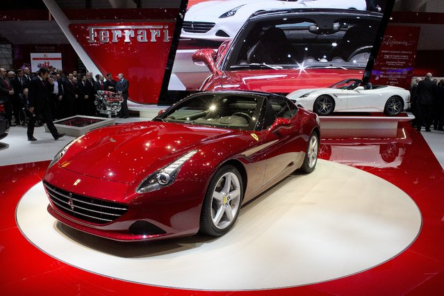 The New Ferrari California T is  is on display  at the 84.  Geneva International Motor Show in Geneva, Switzerland, Tuesday, March 4, 2014. (Photo by Sandro Campardo/AP Photo/Keystone)