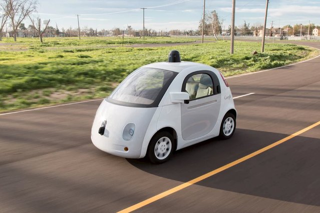 "A Google self-driving car is shown in this handout photo released to Reuters March 15, 2015. Google will put 25 prototype self-driving ""pod"" cars on the roads in and around its Silicon Valley headquarters in Mountain View, California. These prototypes, built in Detroit, will have ""removable"" steering wheels and pedals so that drivers can assume manual control if needed in sticky situations. (Photo by Reuters/Google)"
