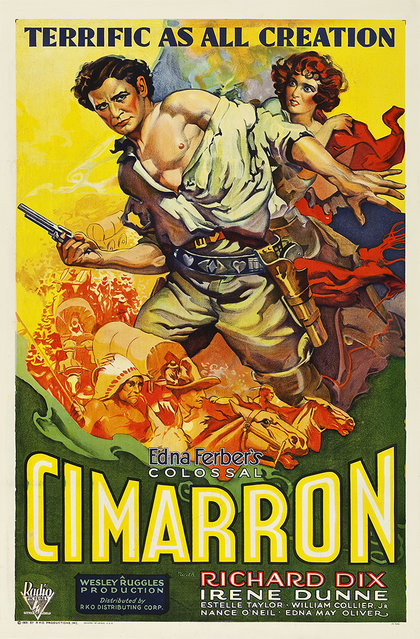 """Cimarron (RKO, 1931). One Sheet (27"""" X 41.5""""). Winner of the Best Picture Oscar for 1931, Cimarron is a sprawling, big budget Western. The film's budget was massive for the day ($1.5 million), and employed over 5,000 extras, 28 cameramen, and hundreds of technicians. RKO also went all out in promoting the film, including this one sheet poster with art by the acclaimed illustrator Frederic C. Madan. Estimate: $20,000 - $40,000. (Photo by Courtesy Heritage Auctions)"""