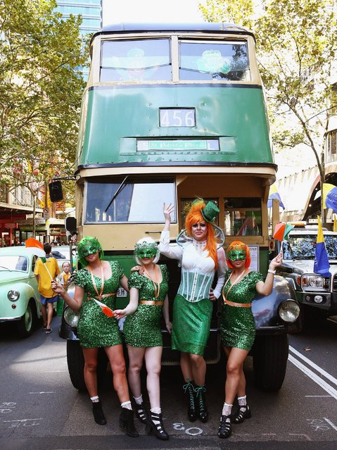 Irish Drag Queen Peachy Queen ( 2nd from right) poses alongside supporters and prepares to march in the St Patrick's day parade on behalf of all gay, lesbian, bisexual and transgender people for the first time on March 16, 2014 in Sydney, Australia. (Photo by Don Arnold/Getty Images)