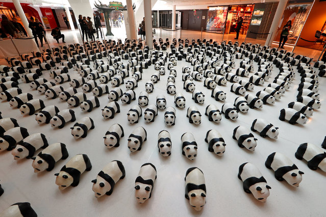 Papier-mache pandas are seen displayed at a shopping mall in Paris, France, April 14, 2016. The event was launched by the World Wildlife Fund (WWF) first in Paris in 2008. Approximately 1,600 panda sculptures were displayed in the exhibition to remind people of the similar number of giant pandas still living in the wild and call on people's protection of endangered species. (Photo by Benoit Tessier/Reuters)