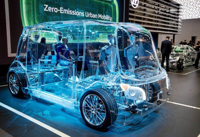 A transparent van is displayed by a vendor for safety devices at the IAA Auto Show in Frankfurt, Germany, Tuesday, September 10, 2019. (Photo by Michael Probst/AP Photo)