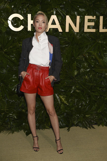 Actress Pom Klementieff poses at the launch of the Gabrielle Chanel Essence fragrance at the Chateau Marmont, Thursday, September 12, 2019, in Los Angeles. (Photo by Chris Pizzello/Invision/AP Photo)