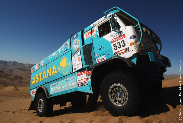 Atur Ardavichus of Kazachstan of drives his  Kamaz truck over  a sand dune during stage seven of the 2012 Dakar Rally