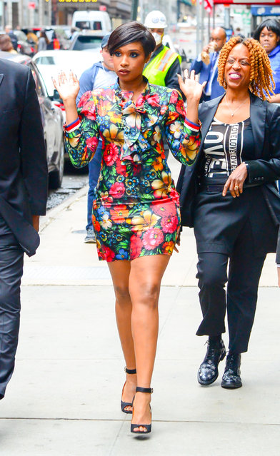 """Actress/Singer Jennifer Hudson is seen  arrived at  """"Good Morning America"""" on April 17, 2017 in New York City. (Photo by Raymond Hall/GC Images)"""