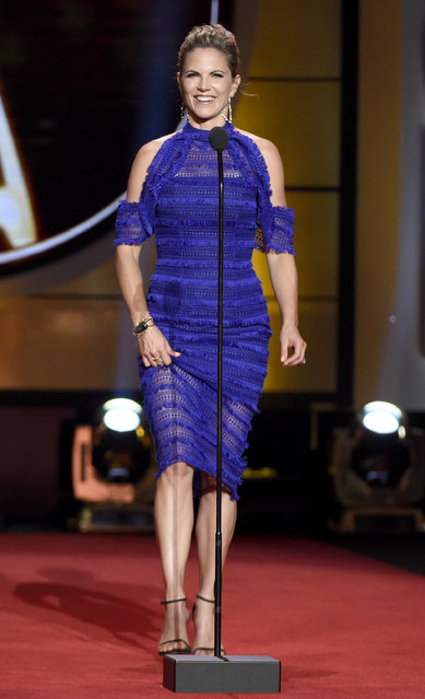 Natalie Morales speaks on stage at the 44th annual Daytime Emmy Awards at the Pasadena Civic Center on Sunday, April 30, 2017, in Pasadena, Calif. (Photo by Chris Pizzello/Invision/AP Photo)