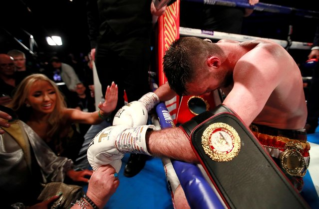Josh Taylor celebrates victory over Regis Prograis during the World Boxing Super Series Super-Lightweight Ali Trophy Final at The O2 Arena on October 26, 2019 in London, England. (Photo by Andrew Couldridge/Action Images via Reuters)