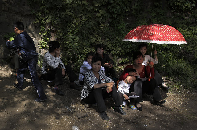 A young boy rests on his mother at the Moranbong or Moran Hill, Sunday, May 10, 2015, in Pyongyang, North Korea. Unlike many other countries that are celebrating Mother's Day on May 10, North Koreans celebrate Mother's Day on November 16 each year. (Photo by Wong Maye-E/AP Photo)
