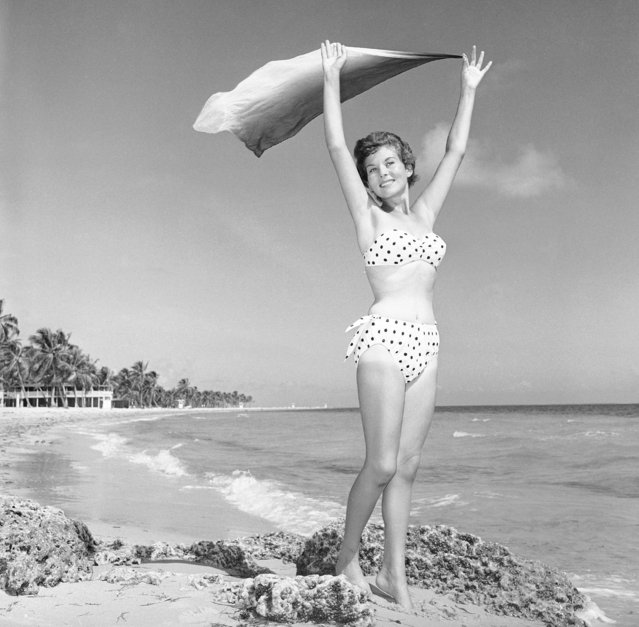 Myrna Cooper at Crandon Park Beach in Miami, Florida on January 22, 1960. Just one little flaw: Myrna's suntan hasn't had time to catch up with the bikini's briefness. (Photo by AP Photo)